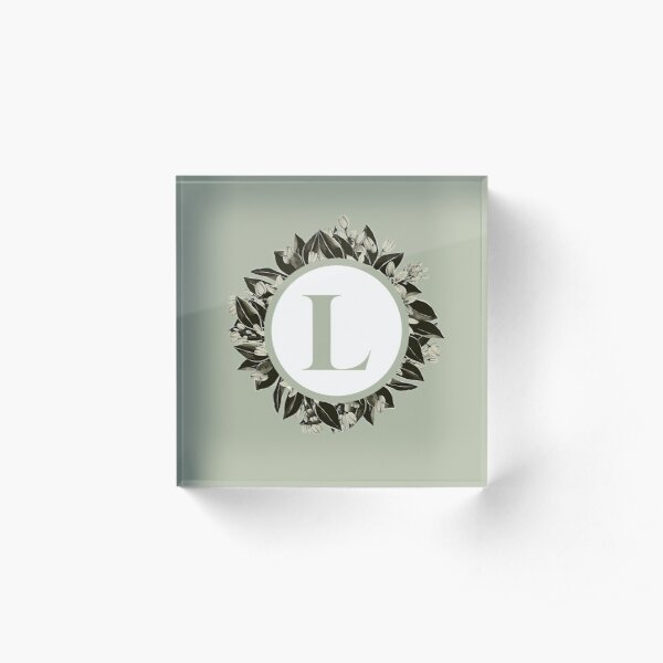 Floral alphabet in sage color - letter L Acrylic Block