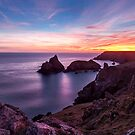 Sunset over Kynance Cove by Stuart  Gennery