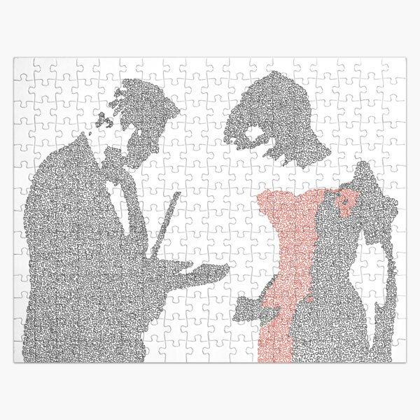 Pretty woman scene made up of small curved shapes Jigsaw Puzzle