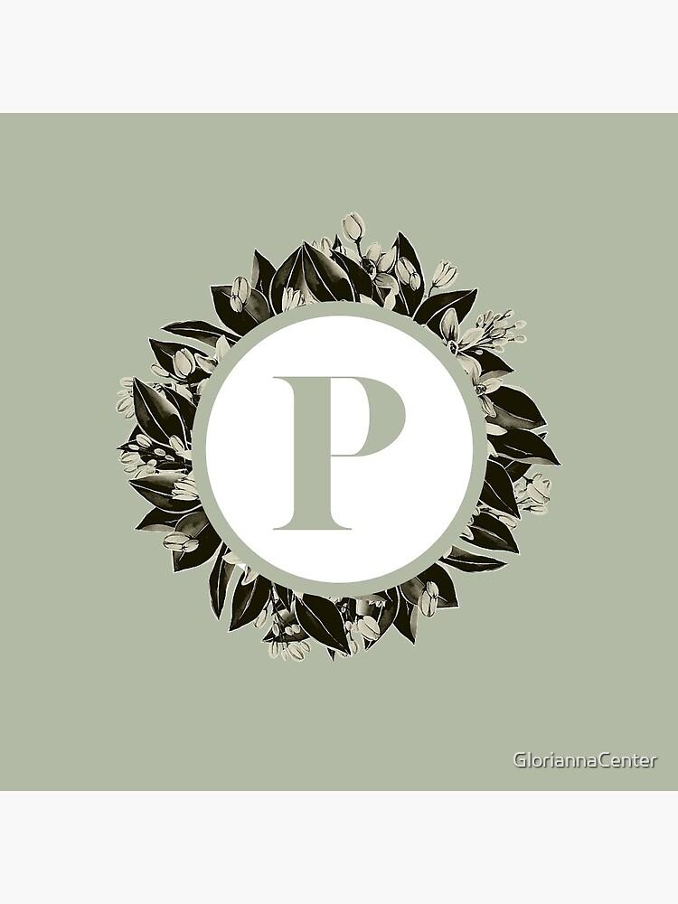 Floral alphabet in sage color - letter P by GloriannaCenter