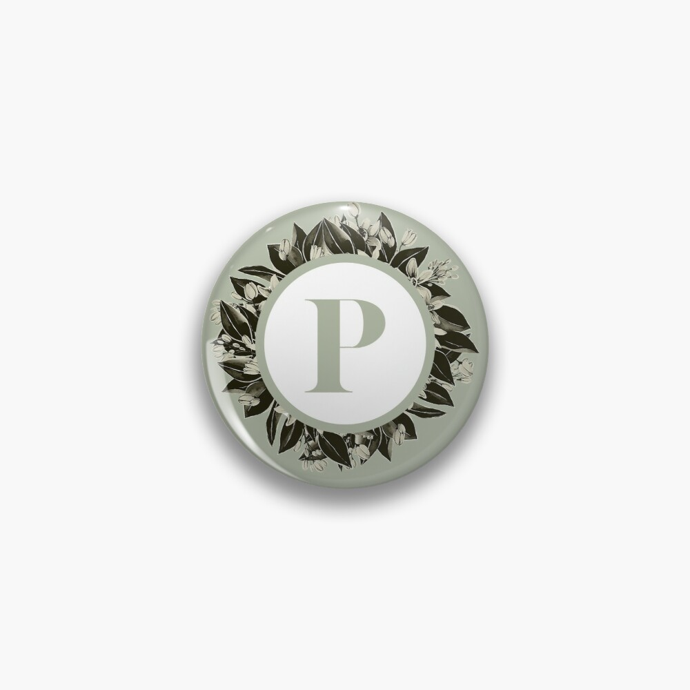 Floral alphabet in sage color - letter P Pin