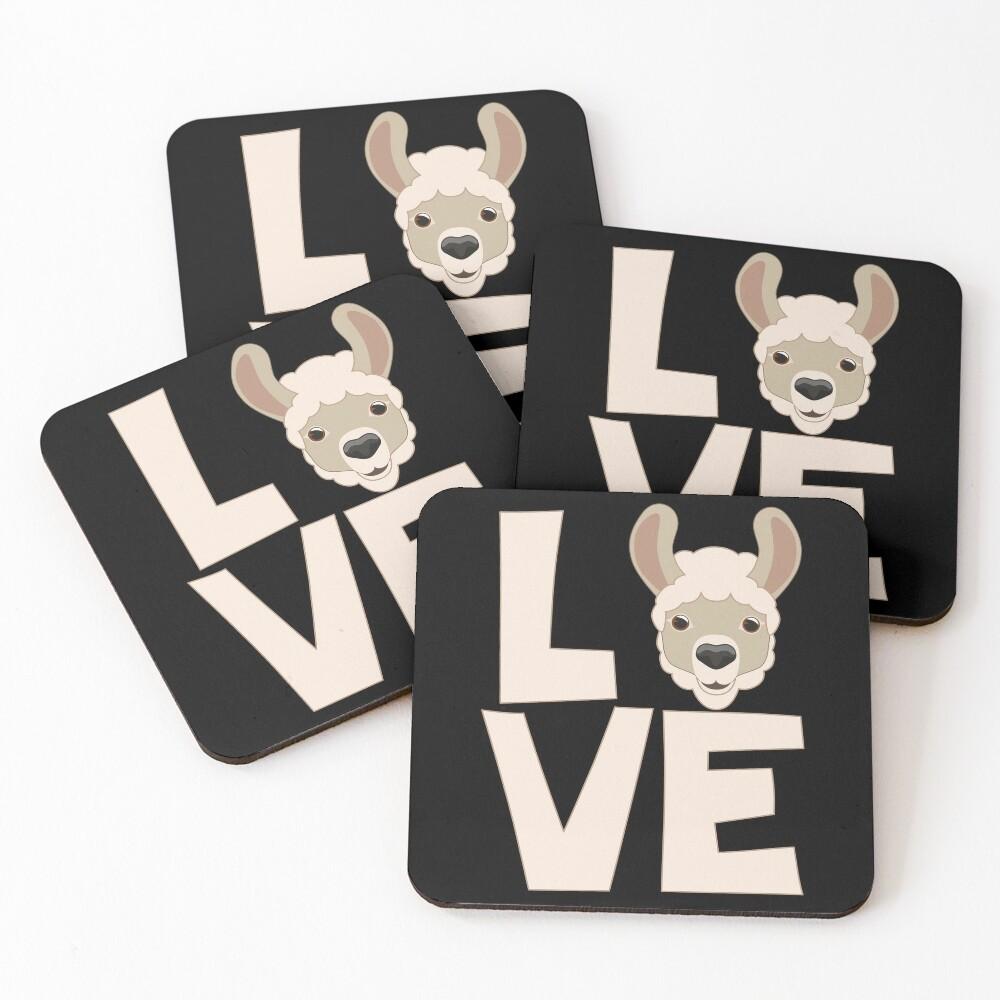 Llama Love emoji Coasters (Set of 4)