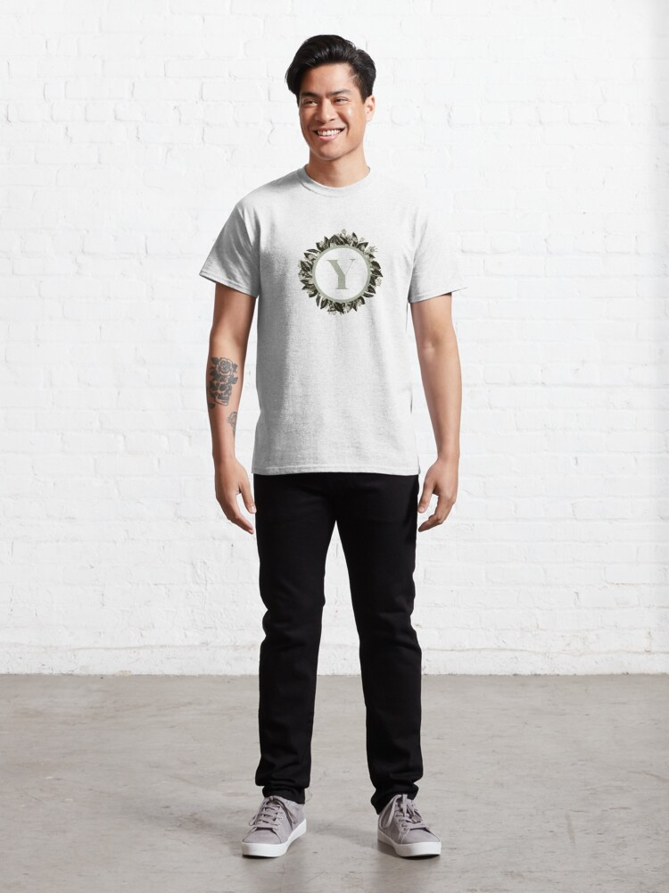 Alternate view of Floral alphabet in sage color - letter Y Classic T-Shirt