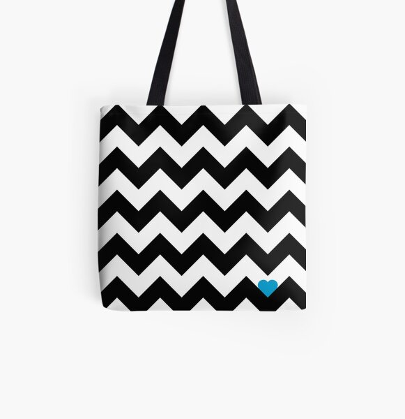 Heart & Chevron - Black/Classic Blue Tote bag doublé
