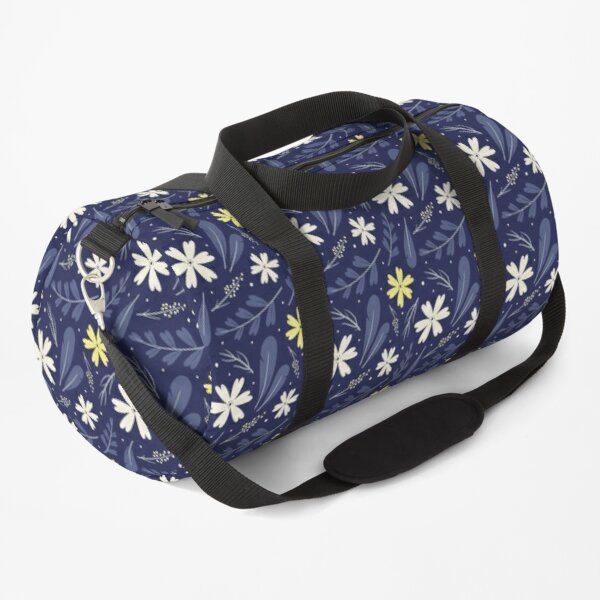Navy Floral Pattern Duffle Bag