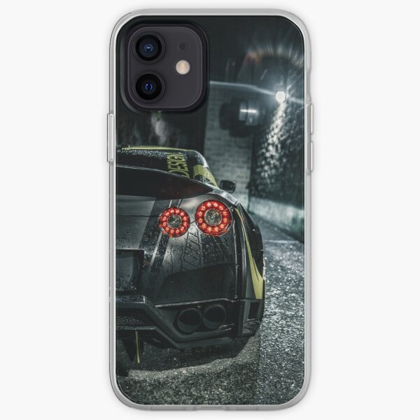 black widebody Nissan gtr sports car iPhone Soft Case