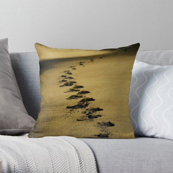 Sand steps on the shore of the sea Throw Pillow