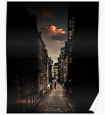 Red cloud in Paris (France) Poster