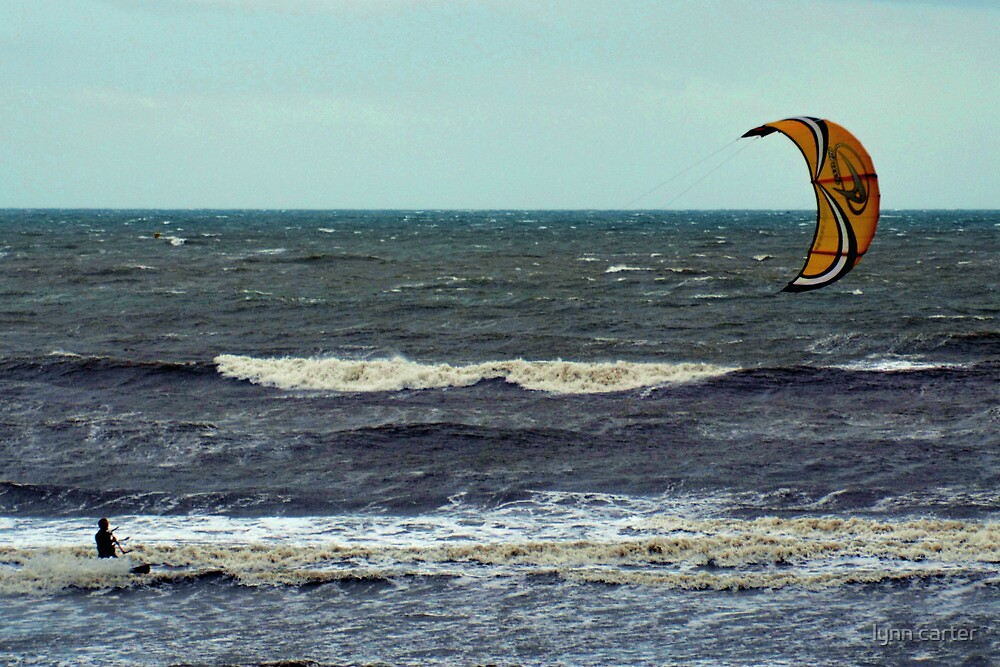 Kite Surfing At Charmouth Dorset, UK by lynn carter