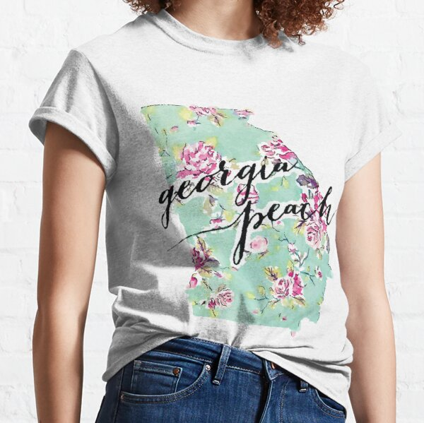 Mint Floral Georgia Peach State Outline Classic T-Shirt