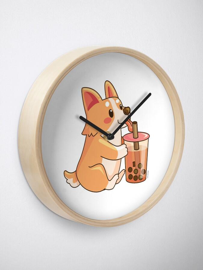 Alternate view of Cute Corgi Boba  Clock