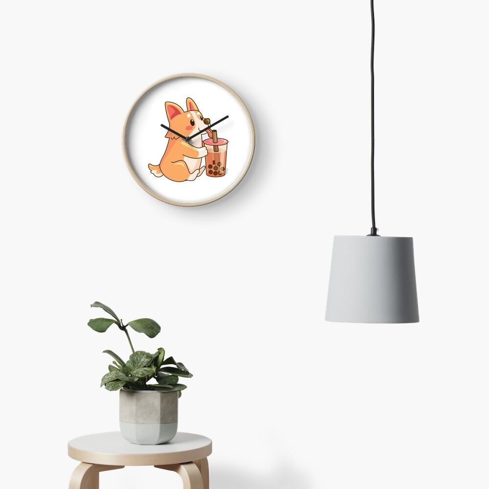 Cute Corgi Boba  Clock