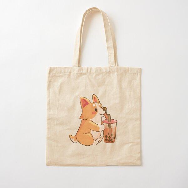 Cute Corgi Boba  Cotton Tote Bag