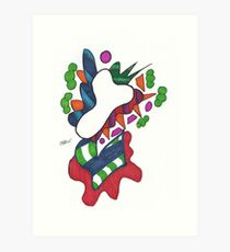 Death's Colorful Abstract Flower Art Print
