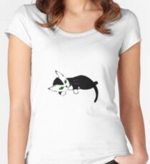 Black and White Kitten Women's Fitted Scoop T-Shirt
