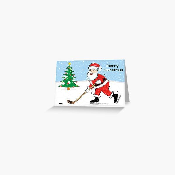 Hockey Santa Christmas Card Greeting Card