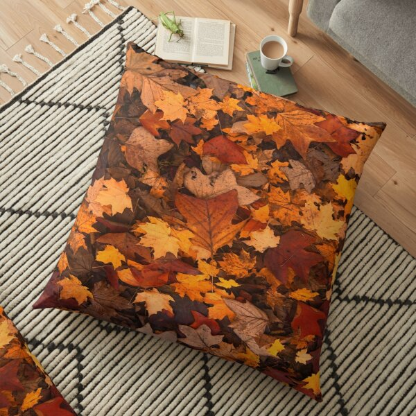 Fall foliage in autumn brown October forest Floor Pillow