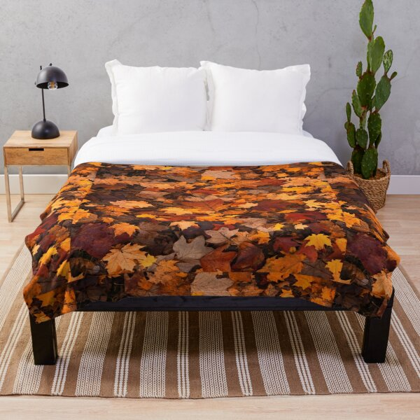 Fall foliage in autumn brown October forest Throw Blanket