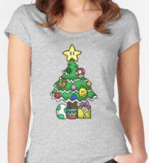 Super Mario - Mushroom Kingdom Christmas (Old) Women's Fitted Scoop T-Shirt