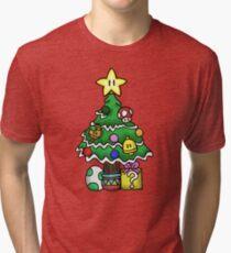 Super Mario - Mushroom Kingdom Christmas (Old) Tri-blend T-Shirt