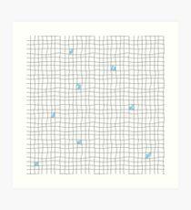 Carreaux - Grey/Blue Art Print