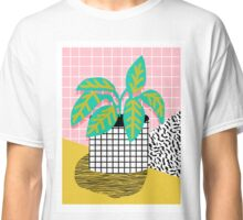 Get Real - potted plant throwback retro neon 1980s style art print minimal abstract grid lines shape Classic T-Shirt