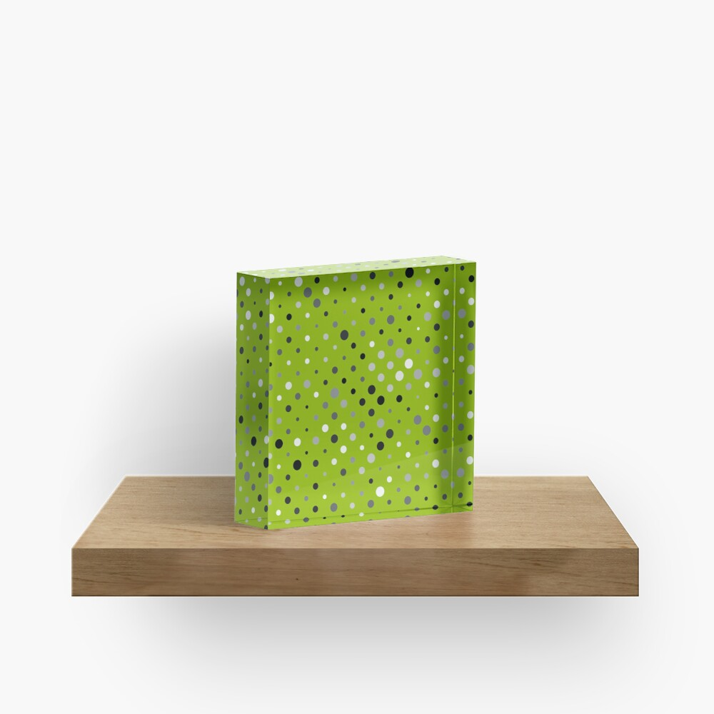 Dots on apple green color background Acrylic Block