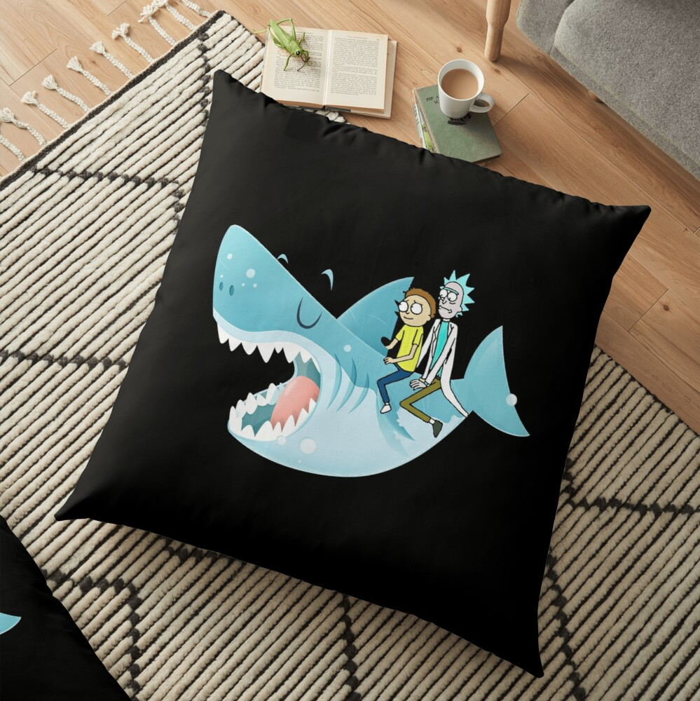 Rick and Morty Riding A shark Floor Pillow