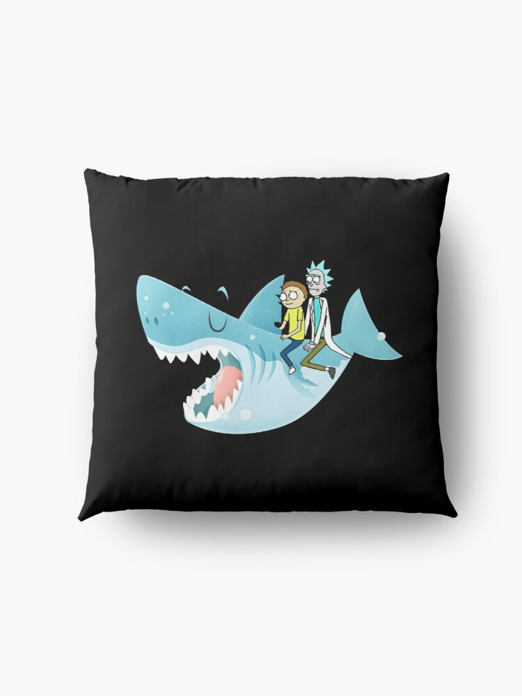 Alternate view of Rick and Morty Riding A shark Floor Pillow