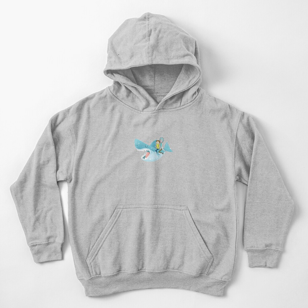 Rick and Morty Riding A shark Kids Pullover Hoodie