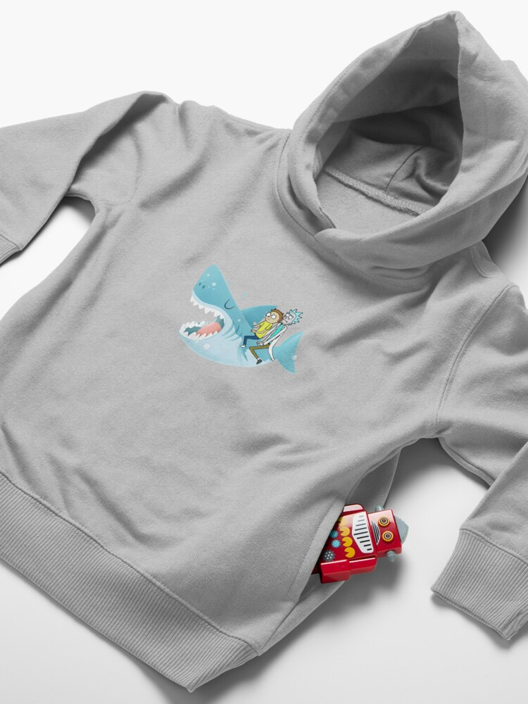 Alternate view of Rick and Morty Riding A shark Toddler Pullover Hoodie