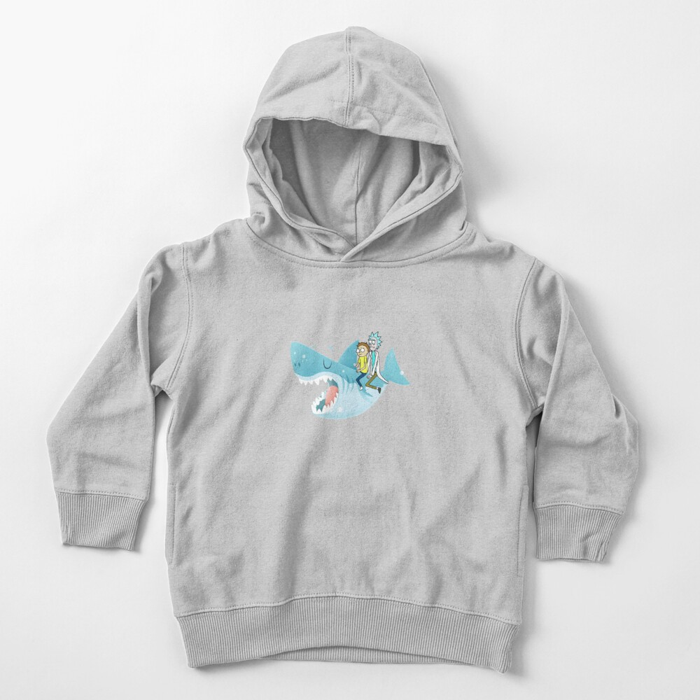 Rick and Morty Riding A shark Toddler Pullover Hoodie