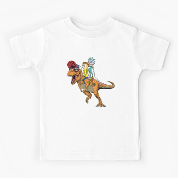 Rick and Morty Riding A dinosaur Kids T-Shirt