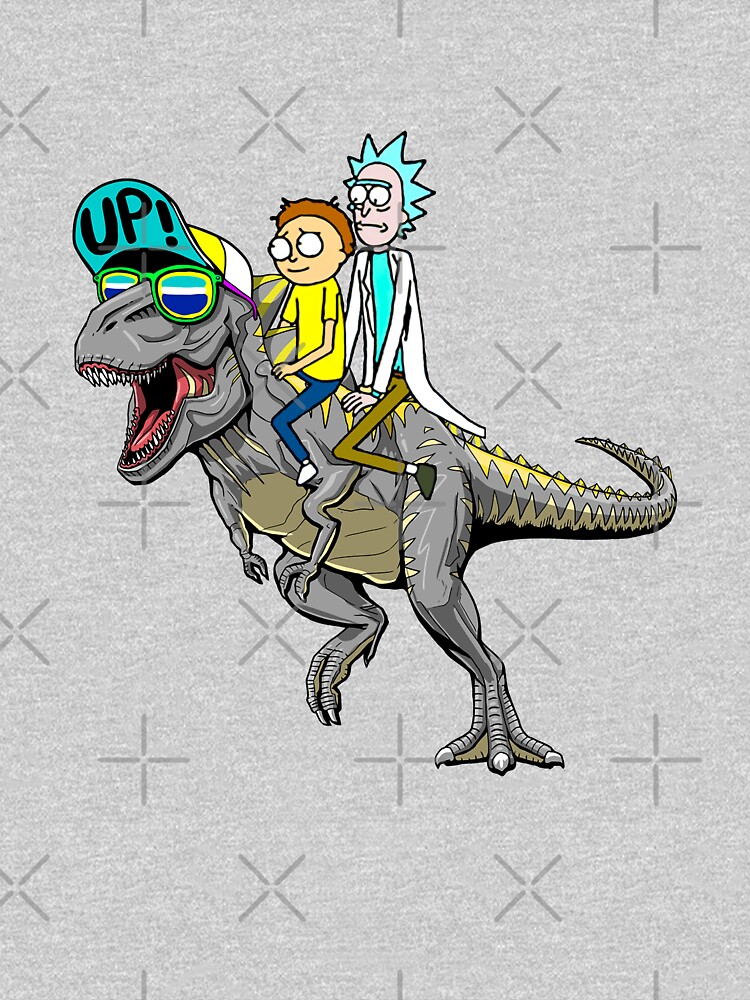 Rick and Morty Riding A dinosaur by CrazyDots21