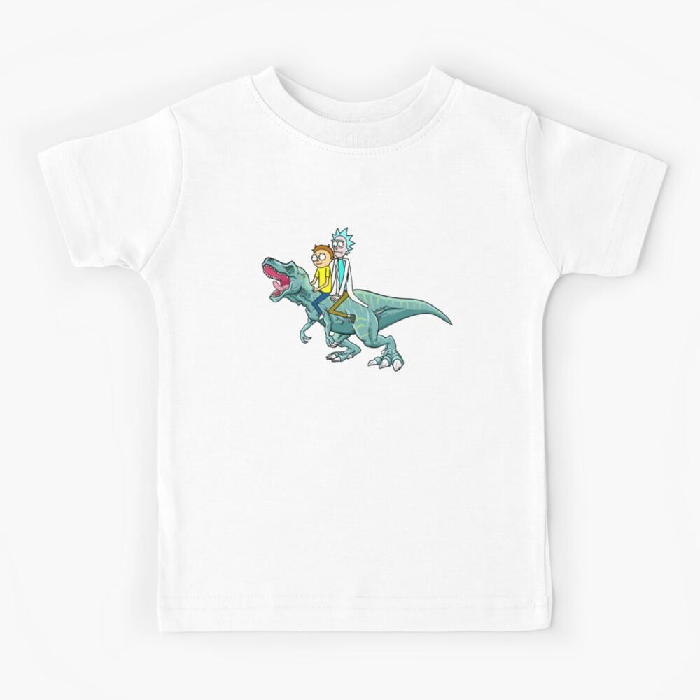 Rick and Morty Riding A dinosaur Kids T-Shirt
