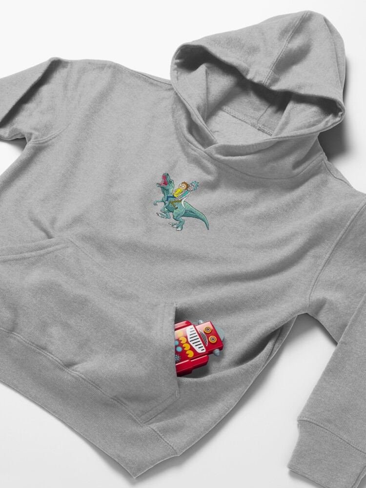 Alternate view of Rick and Morty Riding A dinosaur Kids Pullover Hoodie