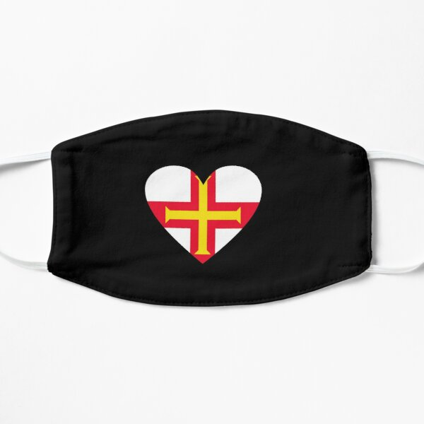 Face Mask, Guernsey Heart Flag. Bailiwick of Guernsey Flag Face Covering. Mask