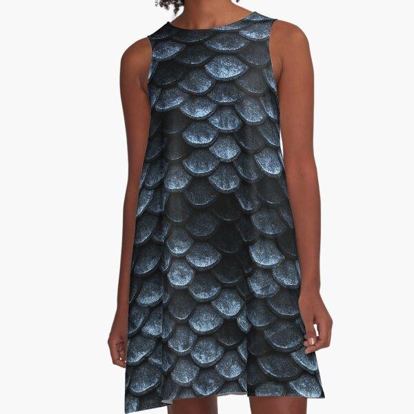 Mermaid Fish Scales Deep Shade of Blues A-Line Dress