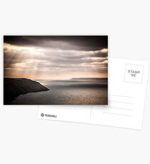 lundy island and baggy point on a dark afternoon Postcards