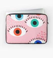 Noob - eyes memphis retro throwback 1980s 80s style neon art print pop art retro vintage minimal Laptop Sleeve