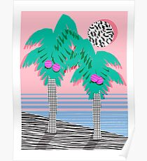 Most Definately - palm tree throwback memphis style retro art print 80s 1980 neon palm springs Poster