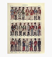 Illustrations of military uniforms from  by René L'Hôpital. Photographic Print