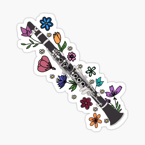 Floral Clarinet Sticker