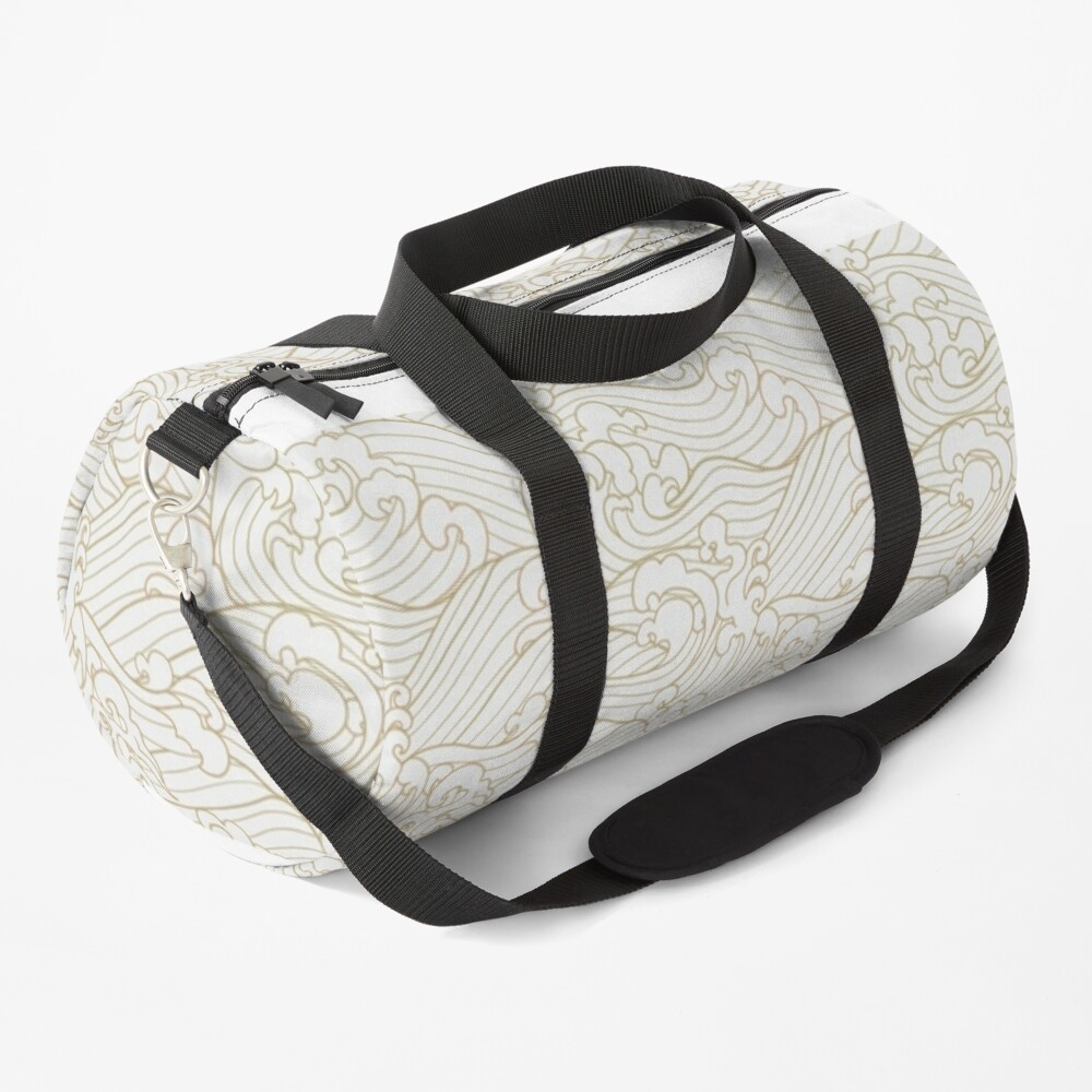 Golden Waves in White Duffle Bag