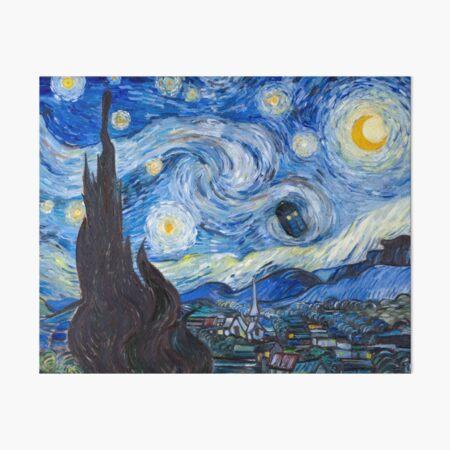 Starry Night with Tardis Art Board Print