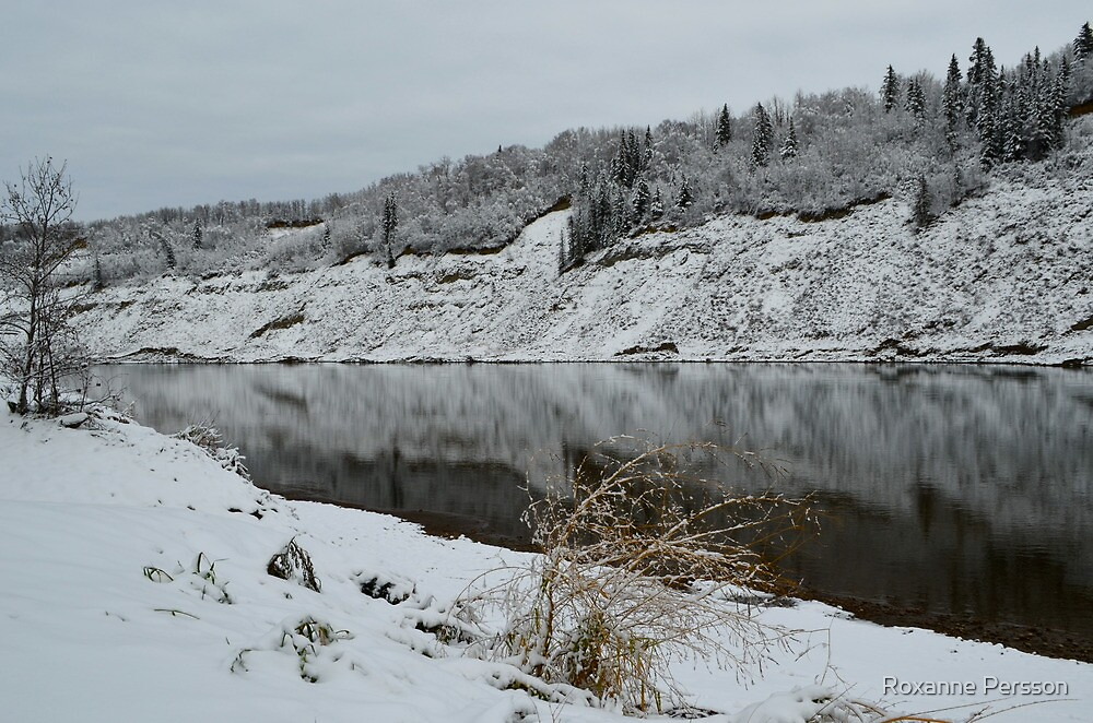 First Snow ~ North Saskatchewan River by Roxanne Persson