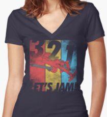 Let's Jam! Women's Fitted V-Neck T-Shirt