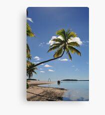 Palm Tree, One Foot Island, Aitutaki Canvas Print