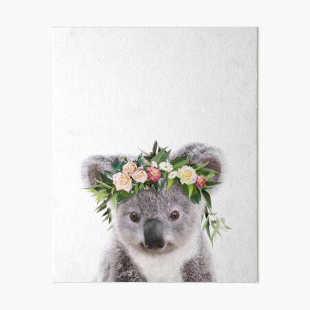 Baby Koala With Flower Crown, Baby Animals Art Print by Synplus Art Board Print