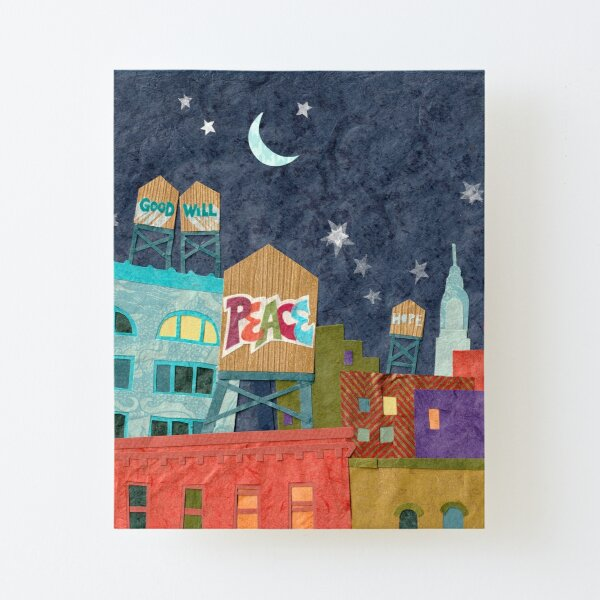Peace Love Water Tower Cityscape Canvas Mounted Print